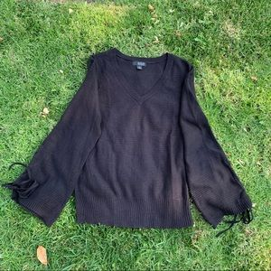 NWT Black V-Neck Sweater W/Flare Sleeves